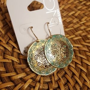 Patina & Gold Ornate Earrings
